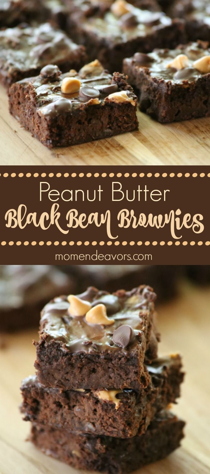 Fudgy peanut butter black bean brownies! These little treats are SO good, full of protein and completely gluten free!