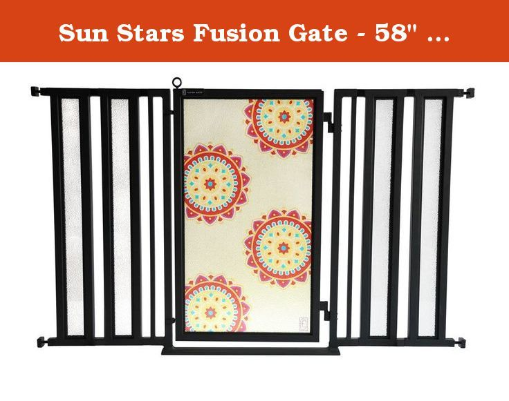"Sun Stars Fusion Gate - 58"" - 61"". The Fusion Gate, featuring our eclectic Sun Stars design, is a premium, dual-mounted pressure pet gate that is engineered for safety but designed as a work of art. Built to strict ASTM standards, this innovative dog/baby gate fits entryways from 58""- 61"" and features a patented interchangeable art screen system with an ongoing collection of beautiful and relevant screen designs ranging from trendy to traditional. This innovative pet/baby gate fuses…"