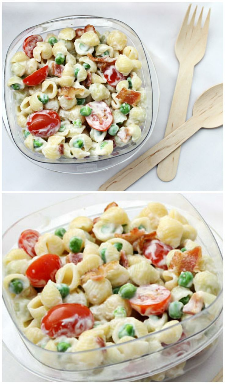 Rock your lunchbox or next party with Pasta Salad with Bacon, Peas, and Tomatoes