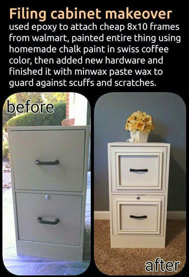 How to decorate a file cabinet with a picture frame and chalk paint.
