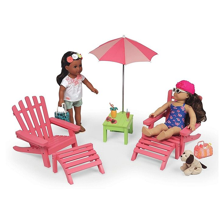 Badger basket double adirondack doll chairs with table and