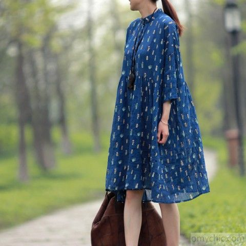 Blue plus size dresses summer cotton dress half sleeve maternity dress sundressThis dress is made of cotton linen fabric, soft and breathy, suitable for summer, so loose dresses to make you comfortable all the time.Measurement: One Size: length 95cm / 37.05