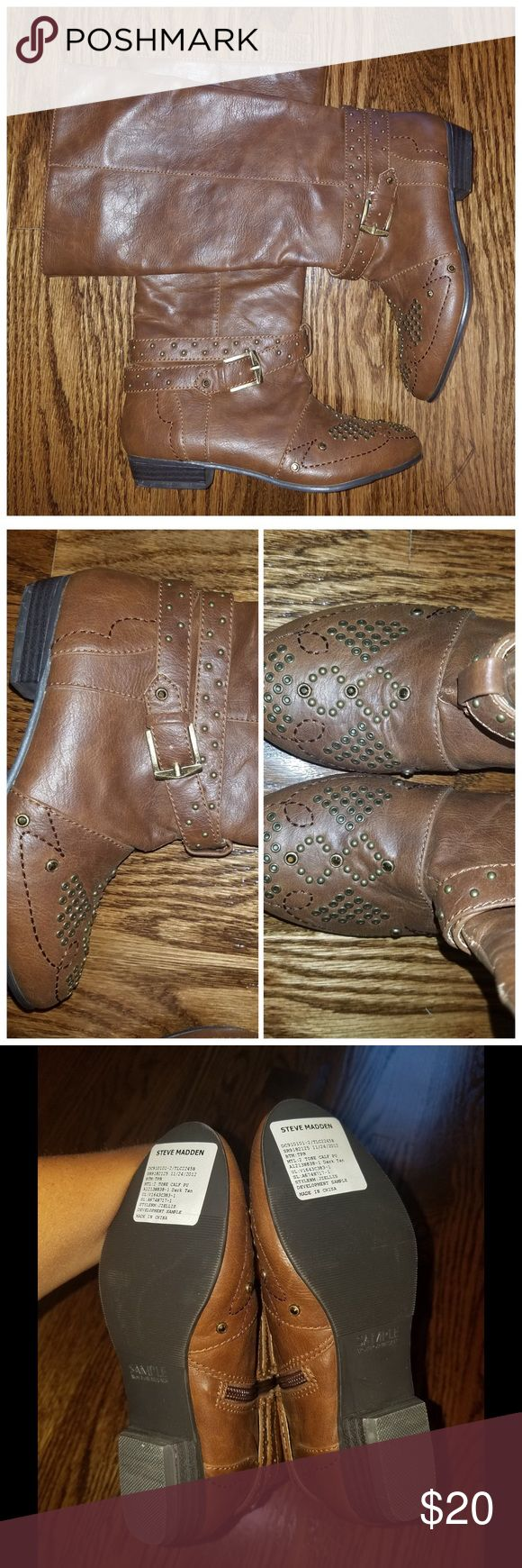 studded brown tall boots So cute. Never worn, but there is  a small tear in stuck on one boot, shown in pic. Other than that, perfect condition. These are STEVE MADDEN, from a sample shoe sale. No size marked, but they are a size 13. Very cute. Steve Madden Shoes Boots