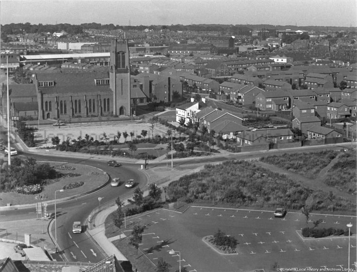 *Tray URU - hey John compare this to the earlier photo of the same spot* MCL/4/6 Black and white photograph showing the roundabout near St Thomas' Church, Westfield Street, St.Helens 1985. ............. MCL - Clare Collection 4 - Black and white photographs taken from Beecham's Tower, St.Helens
