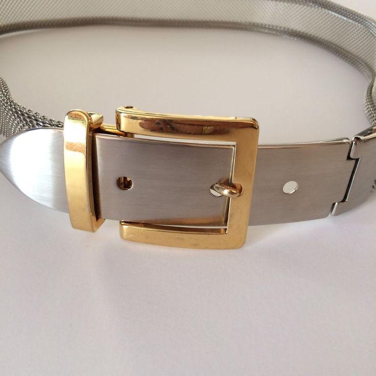 Designer Metal Belt Chain Metal Mesh Link Silver Gold Tone Signed Stamped  | eBay