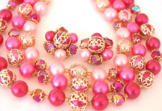 Hong Kong Shades of Pink Necklace Earring Set- The Prettiest Pink Set!