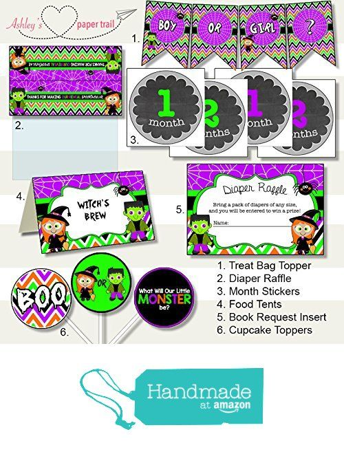 Halloween Gender Reveal Party Decor Package - Digital Files on CD, Prints, or by email. From Ashley's Paper Trail  Halloween party decorations bundle Frankenstein and Witch What will our little monster be?