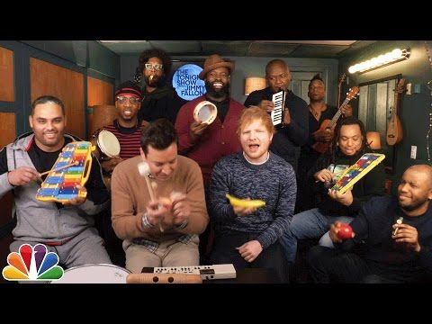 "Jimmy Fallon, Ed Sheeran & The Roots Sing ""Shape of You"" (Classroom Instruments) - YouTube"