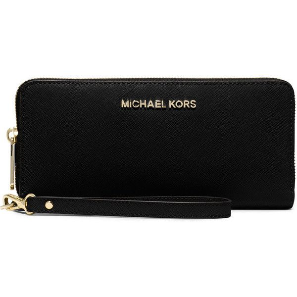 MICHAEL Michael Kors Jet Set Travel Continental Wallet ($170) ❤ liked on Polyvore featuring bags, wallets, black, clear travel bag, continental wallet, black wallet, clear wallet y black zip around wallet