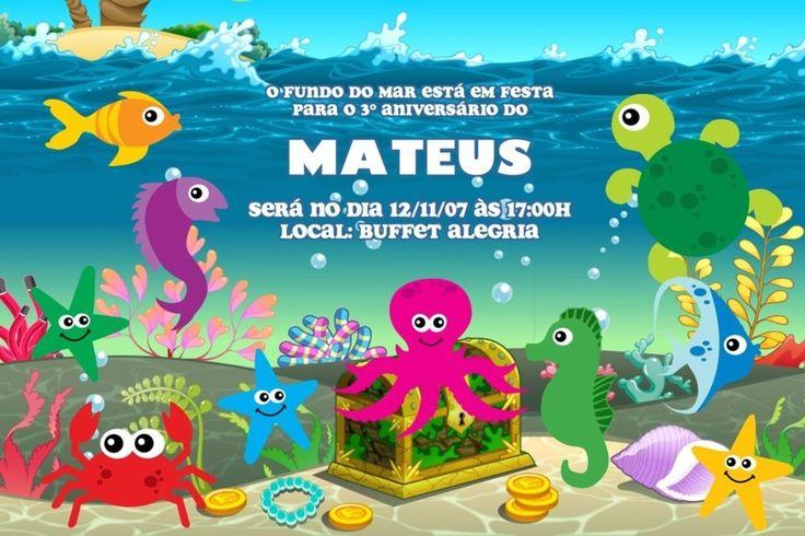 Convite digital personalizado Fundo do Mar 002