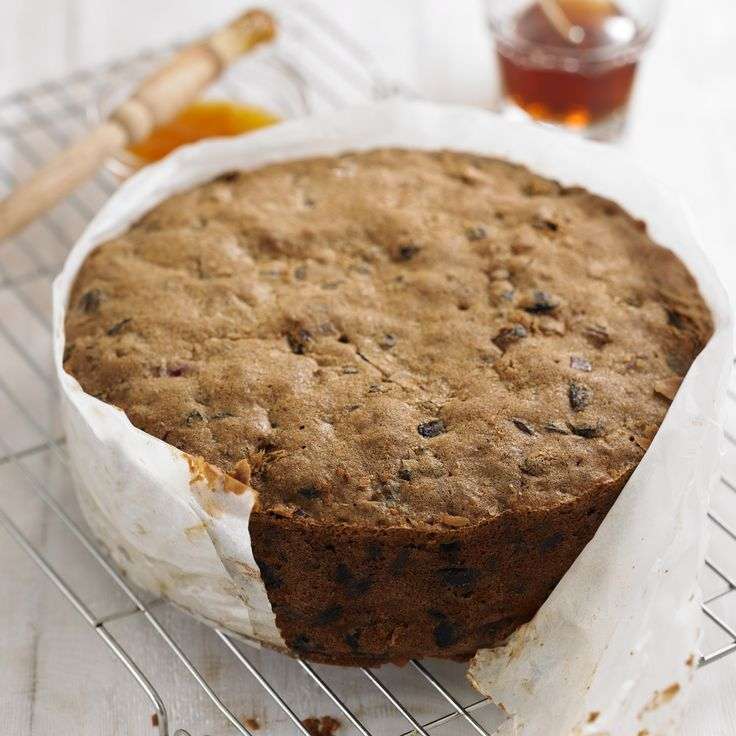 This is the traditional rich fruit cake that is perfect for a Christmas, birthday or wedding cake. It matures well, so make as soon as you can and feed with a tablespoon or two of brandy every week; pierce the cake all over with a cocktail stick and pour over the brandy.