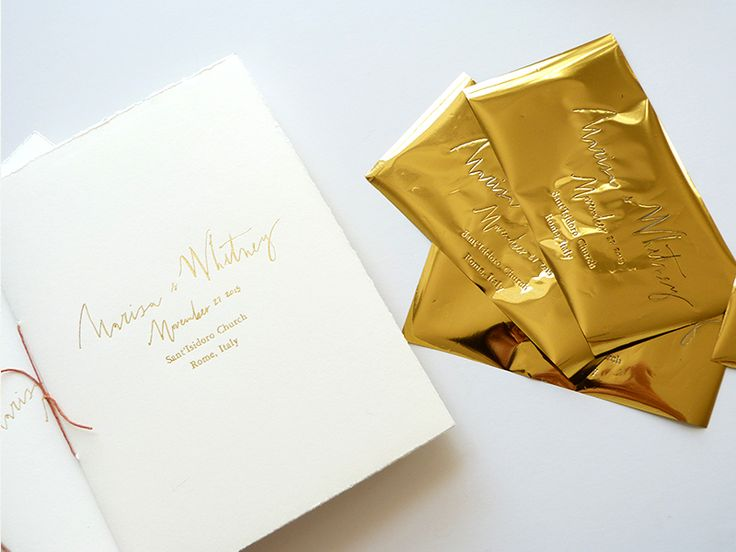 November 2015 Blog Post. Italian wedding programs;  gold-foil and bound booklet by Laura Shema for Jolly Edition
