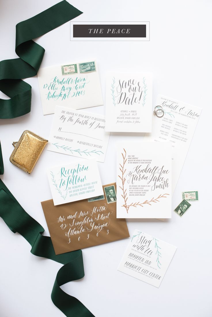 calligraphy | calligraphy wedding invitation | vintage stamp | green | copper | hand lettered | unique | whimsical | reception card | reply card | save the date | copper foil