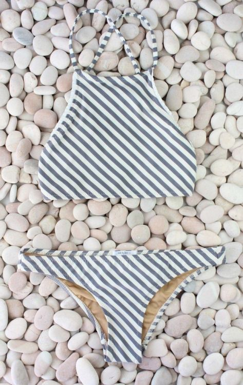 Striped halter top bikini