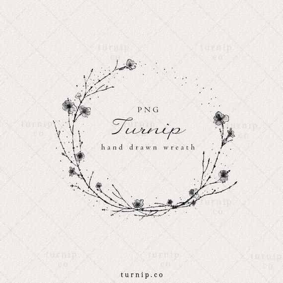 Floral Wreath Clipart Black And White Simple Wreath Clipart Etsy In 2021 Floral Wreath Clipart Clipart Black And White Wreath Clipart