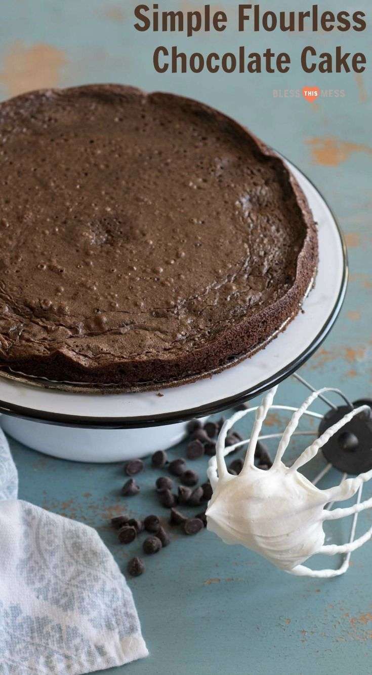 A super simple yet very impressive rich and fudgy flourless chocolate cake recipe that is made with common ingredients, done in less than 30 minutes, and is naturally gluten free. #glutenfree #chocolate #dessert #blessthismessplease