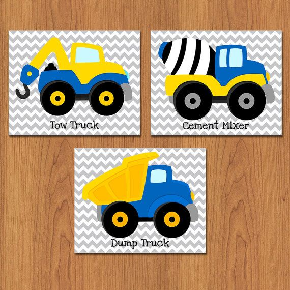 Construction Trucks Playroom Boys Room Chevron Wall Art Construction Vehicles Room Decor Set of 3 Trucks Wall Art 8x10 Matte Print (23)