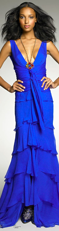 ✿~ J' ADORE BLEU `✿⊱╮   ****Oscar De La Renta ● Blue Draped Chiffon Gown****