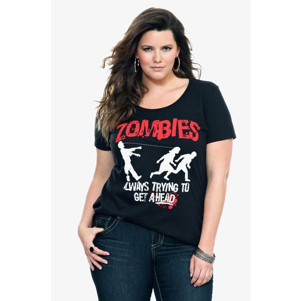 Torrid Goodie Two Sleeves - Zombies Get Ahead Tee ($23) ❤ liked on Polyvore featuring tops, t-shirts, cotton graphic tee, blue tee, graphic print t shirts, blue top and blue cotton t shirts