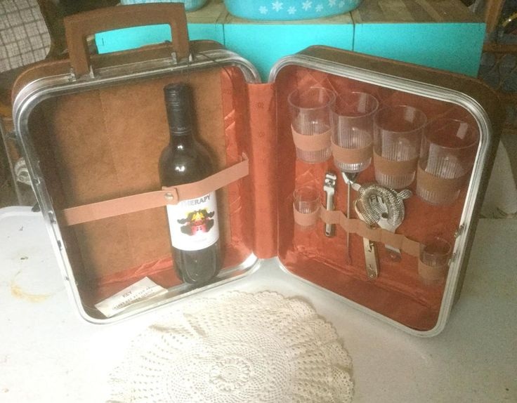 Vintage Travel Bar Suitcase, Tools/Glasses/Key Carry On Bar, Travelling Bar, 60s Portable Cocktail Bar, Party On The Go! by TrashMaMa on Etsy
