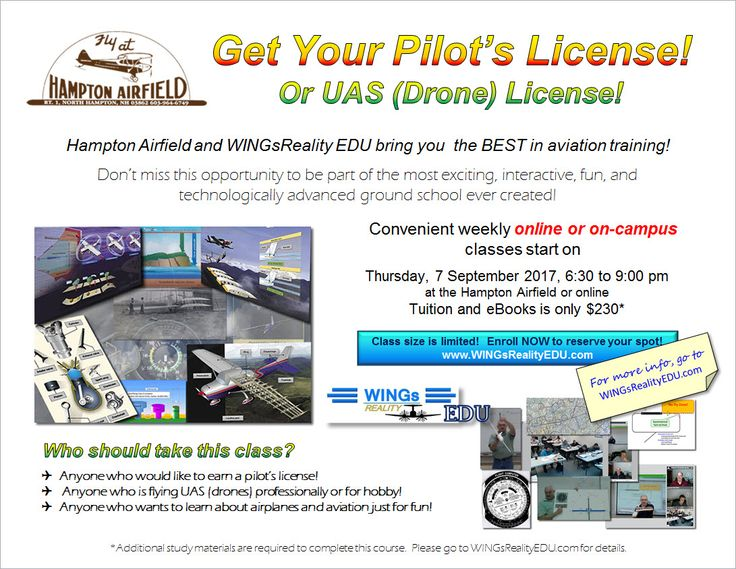 Private Pilot Ground School starts on 8 September 2016! Attend on