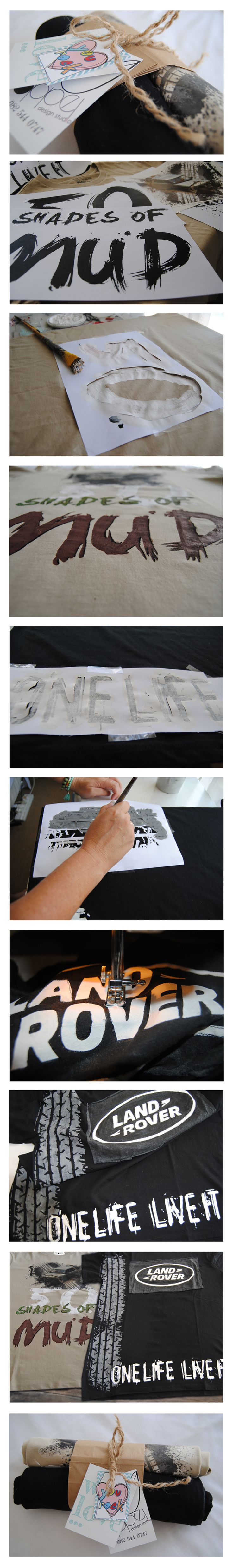 Oogappel Design Studio applies different techniques to create awesome tee's. We experiment with heat transfers, screen printing, appliqué and hand painting, depending on the project.  In this case I've experimented with some hand painted lettering. #paint #tshirts #stencilling #packaging #heat #transfer