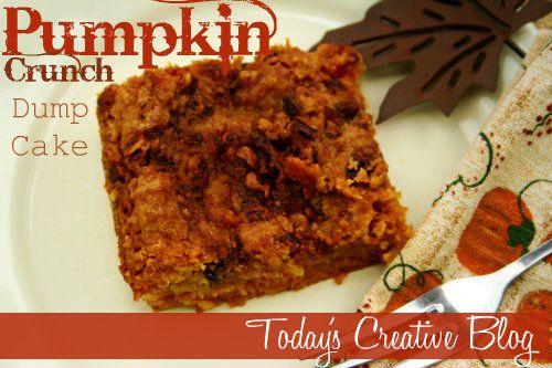 pumpkin crunch dump cake - yummo for autumn!Dump Cakes, Cake Mixed, Pumpkin Crunches Dump Cake, Pumpkin Recipe, Pumpkincrunchdump Cake, Crunches Cake, Pumpkin Pies, Cake Recipes, Dump Cake Recipe