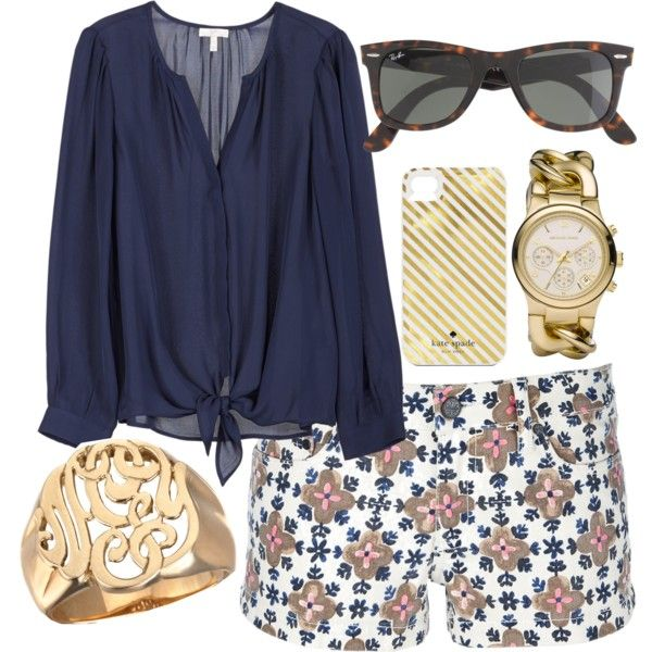 Tory Burch shorts that are so cute. My daughter's crowd would go nuts over this outfit. I'll settle for the navy shirt, the Michael Kors watch and the Kate Spade iphone case:)