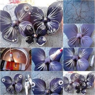 DIY nylon butterfly from tights tutorial, instruction.  Follow us: http://on.fb.me/1rWIbQo