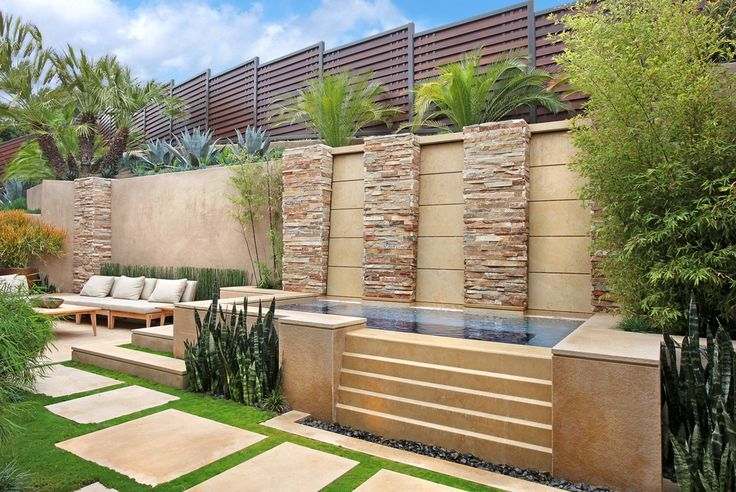 Contemporary Landscape/Yard with Bambusa multiplex 'Alphonse Karr' - Alphonse Karr Bamboo, Fence, Pathway, Outdoor seating