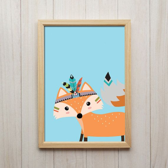 Tribal Fox Art mural chambre d'enfant, bébé garçon enfants chambre décor, enfants Woodland oeuvre, forêt Animal affiche, Colorful impression jet d'encre