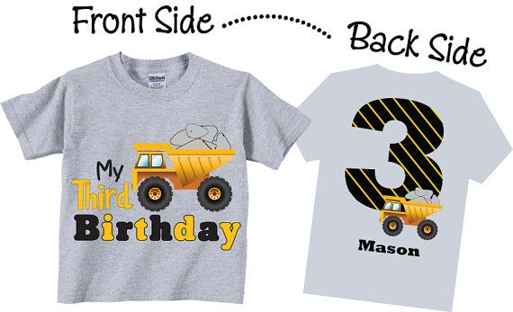 3rd Birthday Shirts with Dump Truck for Boys by TheCuteTee on Etsy, $14.95