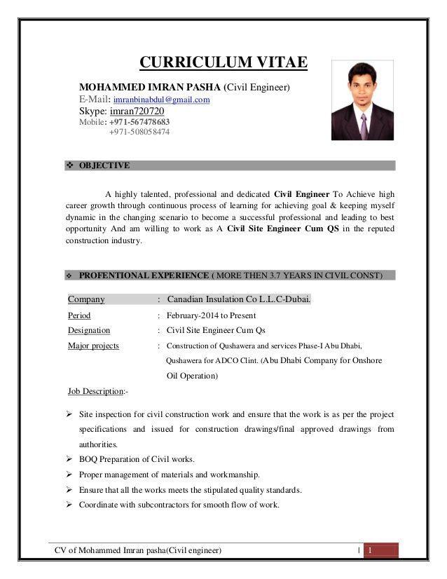 Cv Of Mohammed Imran Pasha Civil Engineer 1 Curriculum Vitae Mohammed Imran Pasha Civil Engi Civil Engineer Resume Job Resume Format Engineering Resume