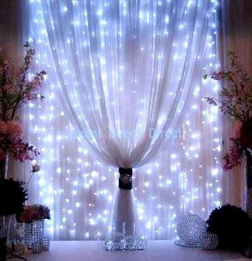 White LED Window Curtains