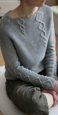 Beautiful and unique cables across these grey sweater. Pattern available @ http://www.ravelry.com/projects/SuvisDesigns/baby-cables-and-big-ones-to