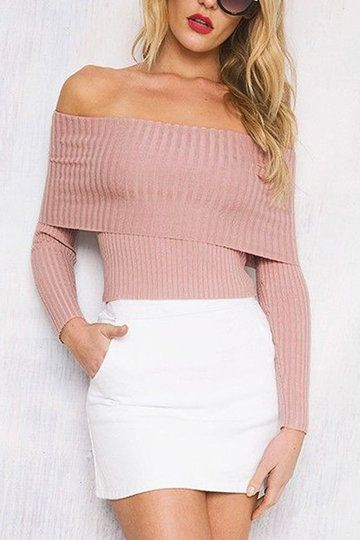 Pink Sexy Off Shoulder Long Sleeves Jumper