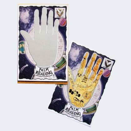 Scratch off the palm reading hand to reveal messages of travel and adventure