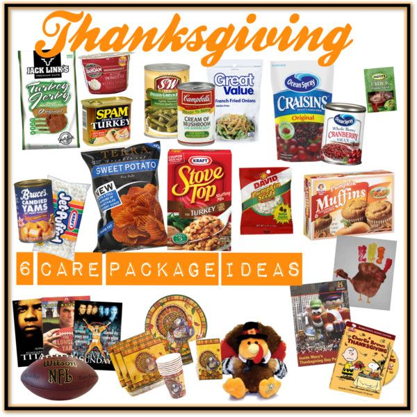 """Thanksgiving Care Packages"" by veteransunited on Polyvore..Somehow I'll pull a missionary theme together with this idea! xD"