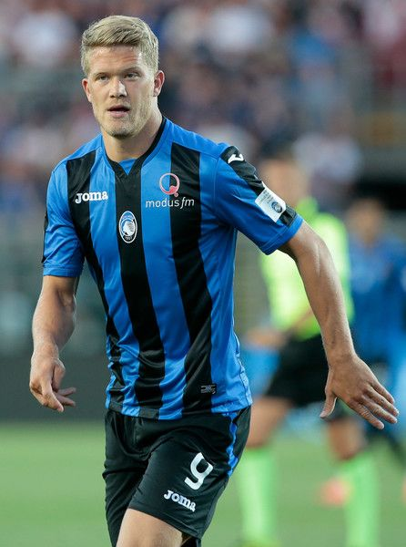 Andreas Cornelius of Atalanta BC looks on during the pre-season friendly match between Atalanta BC and LOSC Lille at Stadio Atleti Azzurri d'Italia on July 26, 2017 in Bergamo, Italy.