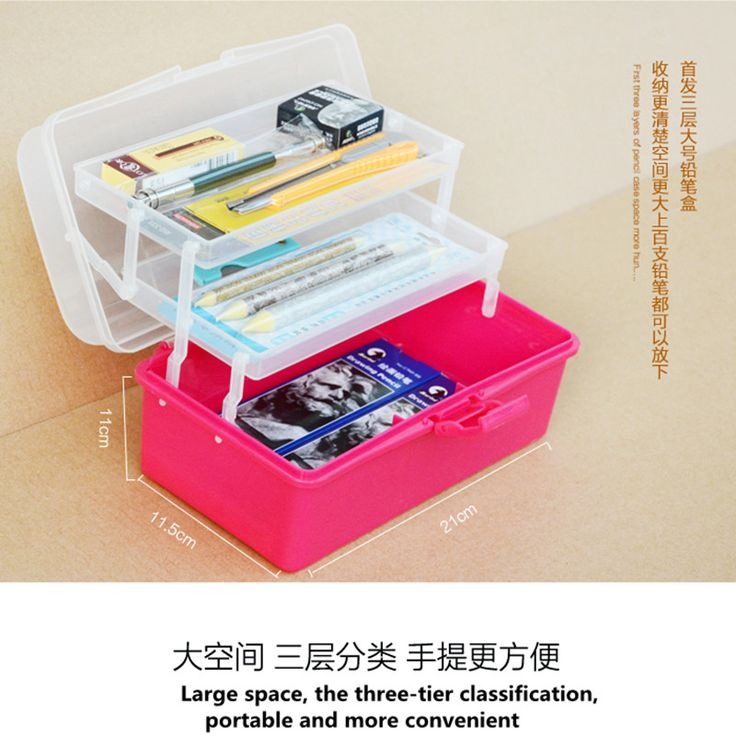 4 Layers Stationery case/ sketching pencil box / art supplies storage box / pencil case / Painting plastic toolbox Creative