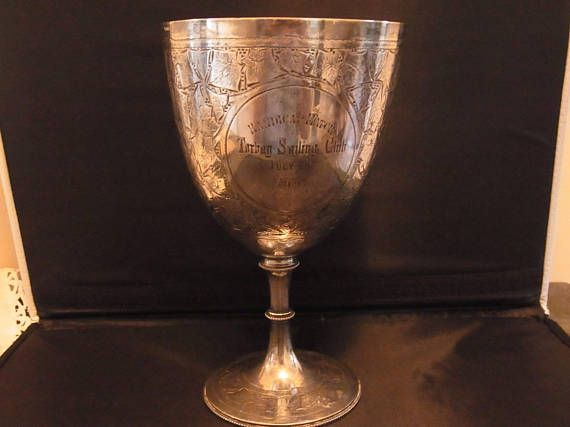 Antique Victorian English Sailing Trophy Cup or Goblet Torbay