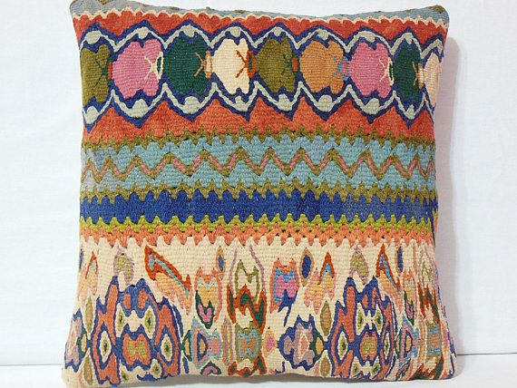 Vintage Tribal Hand Woven Kilim Pillow Cover  Organic by DECOLIC, $55.00
