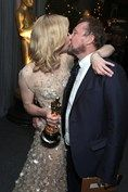 Cate Blanchett and her playwright and director husband Andrew Upton celebrate her Oscar win.