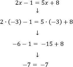 Comprobamos la solución x = -3sustituyendo en la ecuación 2x-1 = 5x+8