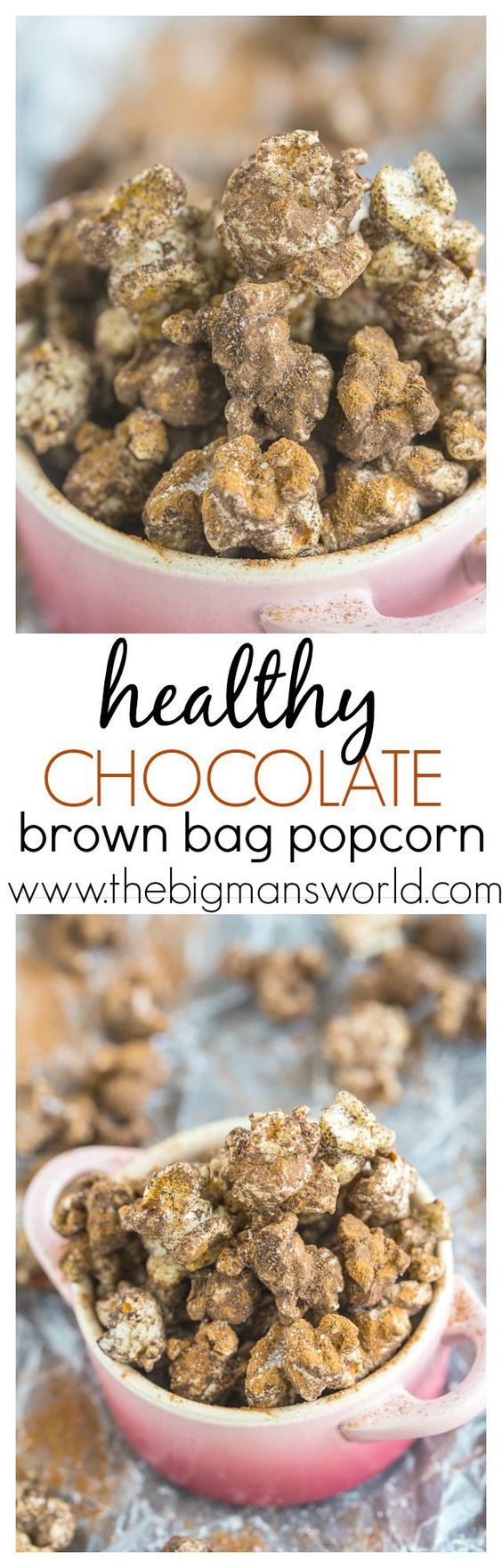 Healthy Chocolate Brown Bag Popcorn- How can popcorn this good, be healthy?  You won't believe how we do it!