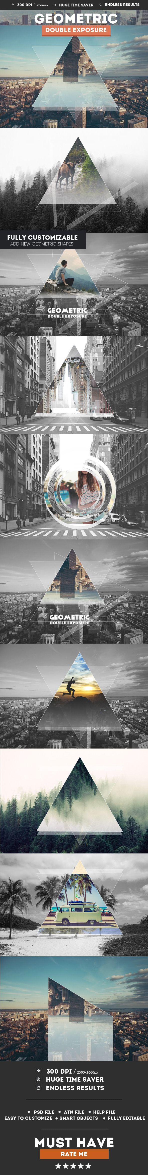 Geometric Double Exposure Photoshop Creator - Photo Effects Actions
