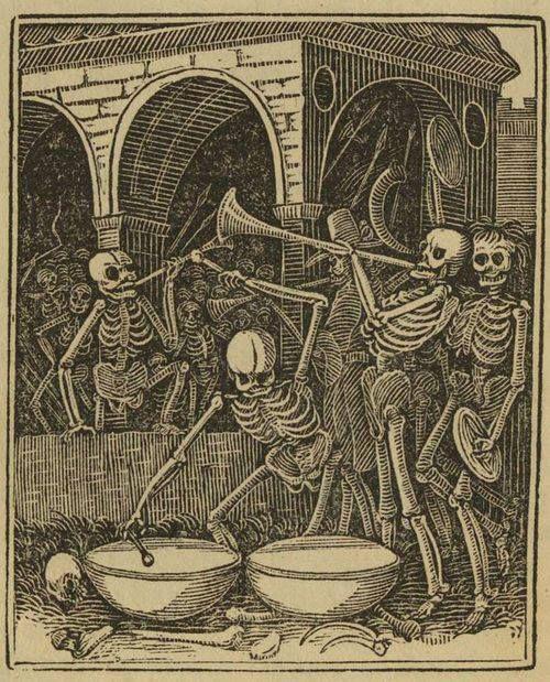 "aherusa:  ""The Bones of all men"" (woodcut,dance of Death)"