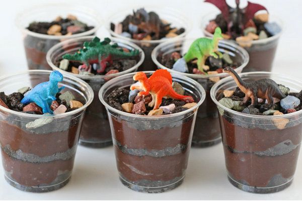 Dinosaur Chocolate Mousse Dirt Cups with Rock Chocolates