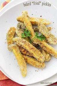 """Baked """"Fried"""" Pickles with Peanut Butter Frosting Dip Recipe 
