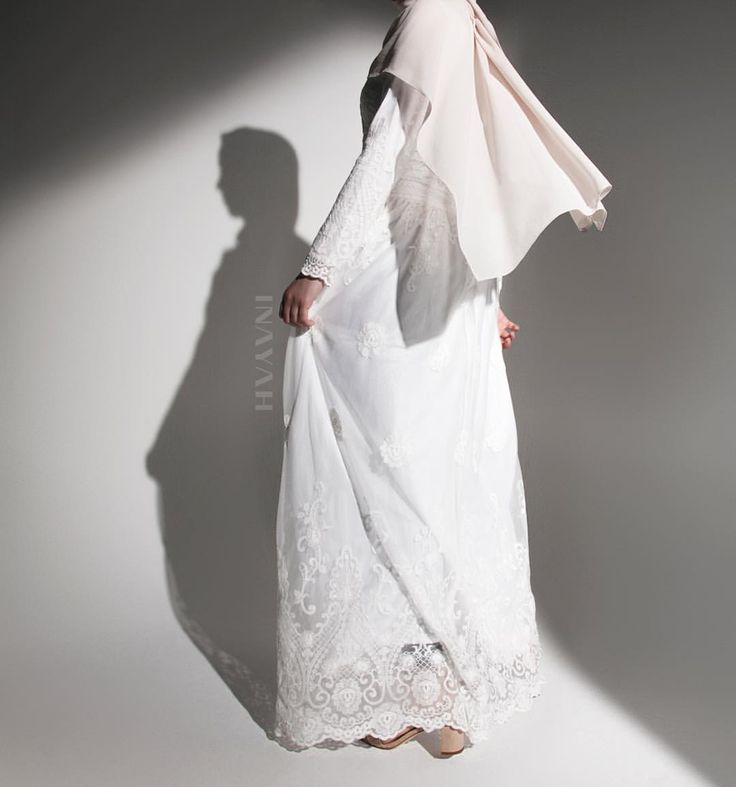 INAYAH   NEW ARRIVALS: Graceful elegance is what we have aspired to create in this beautiful low waist dress. Perfect for bridal wear and all your special occasions due to its tremendous net overlay which showcases unique lace patterns on the bodice and sleeve - Dropped Waist Lace Dress + Pair with our Dove Soft Crepe Hijab -www.inayah.co
